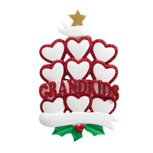 Grandkids Family of 9 Personalized Christmas Ornaments - Blank