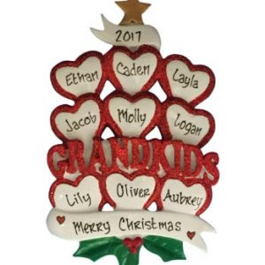 Grandkids Hearts Personalized Christmas Ornament Family Of 9