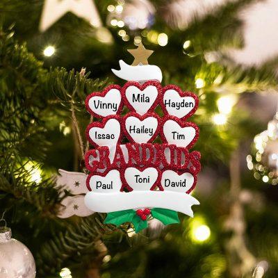 Personalized Grandkids 9 Christmas Ornament