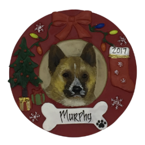 Akita Christmas Wreath Personalized Christmas Ornament