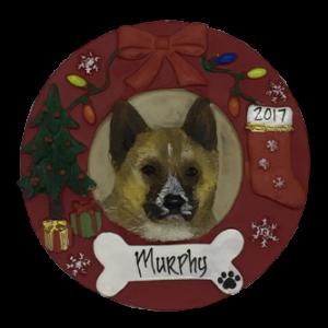 Akita Christmas Wreath Personalized Christmas Ornament