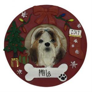 Shih Tzu (Tan & White) Christmas Wreath Personalized Christmas Ornament