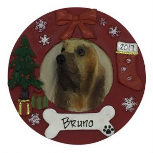 Bloodhound Christmas Wreath Personalized Christmas Ornament