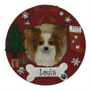 Papillon Christmas Wreath Personalized Christmas Ornament