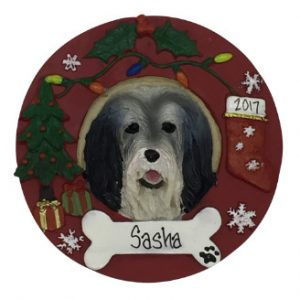 Bearded Collie Christmas Wreath Personalized Christmas Ornament