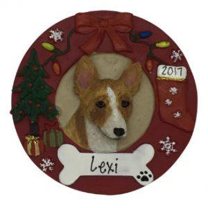 Basenji Christmas Wreath Personalized Christmas Ornament