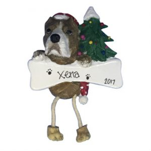 Pit Bull (Brindle) Personalized Christmas Ornament