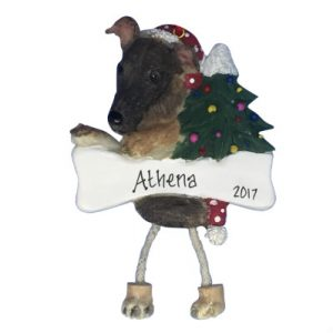 Greyhound (Brindle) Personalized Christmas Ornament