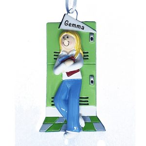 School Girl Blonde Personalized Christmas Ornament