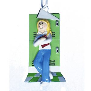 School Girl Blonde Personalized Christmas Ornament - Blank