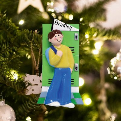 Personalized College Teenage Boy Christmas Ornament