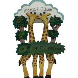 Giraffe Couple in Trees Christmas Ornament