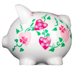 Pink Hearts Mini Piggy Bank