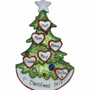 Christmas Tree Family of Six Personalized Christmas Ornament