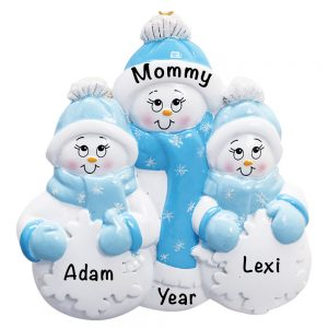 Single Family Snowman 2 Child Personalized Christmas Ornament