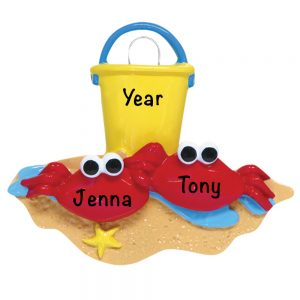 Crabs on a Beach Personalized Christmas Ornament