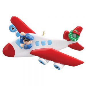 Airplane Pilot Personalized Christmas Ornament - Blank
