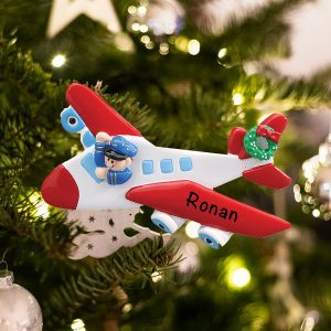 Personalized Airplane Pilot Christmas Ornament