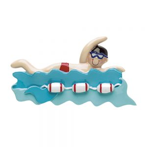 Swimming Boy Buoy Personalized Christmas Ornament - Blank