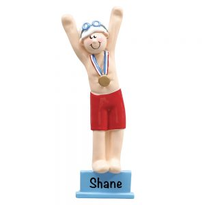 Swimmer Boy Platform Personalized Christmas Ornament