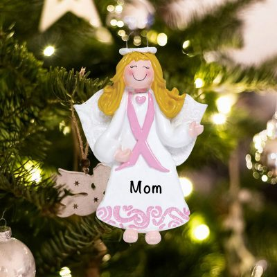 Personalized Pink Ribbon Angel Christmas Ornament