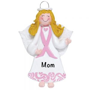 Pink Ribbon Angel Personalized Christmas Ornament