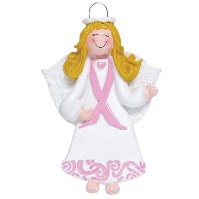 Pink Ribbon Angel Personalized Christmas Ornament - Blank