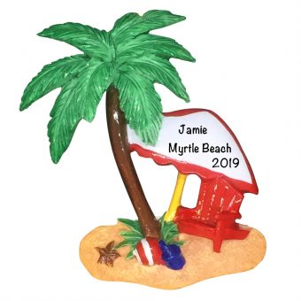 Island Oasis Beach Personalized Christmas Ornament