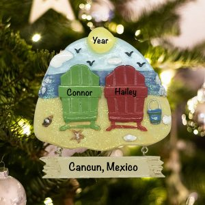 Personalized Beach Chair Couple Christmas Ornament