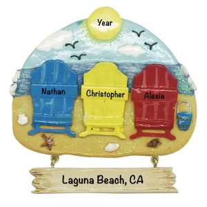 Beach Chair Family of 3 Personalized Christmas Ornament