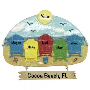 Beach Chair Family of 5 Personalized Christmas Ornament