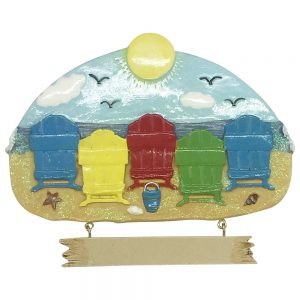 Beach Chair Family of 5 Personalized Christmas Ornament - Blank