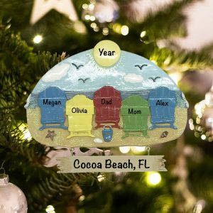 Personalized Beach Chair Family of 5 Christmas Ornament