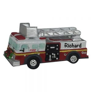 Firetruck Personalized Christmas Ornament