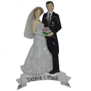 Bride & Groom Wedding Day Personalized Christmas Ornament