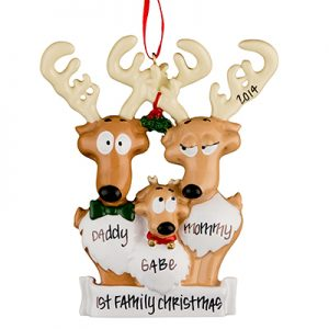 Reindeer Family of 3 Personalized Christmas Ornament