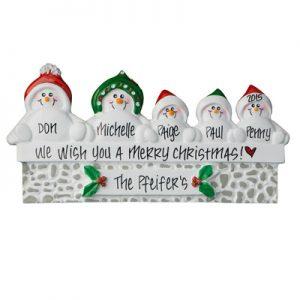 Snowmen On Gray Wall Family of 5