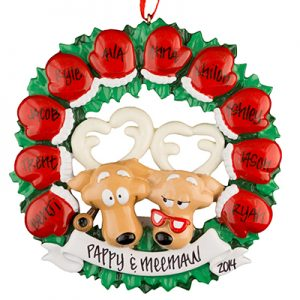 Moose Mitten Family of 10 Personalized Ornament