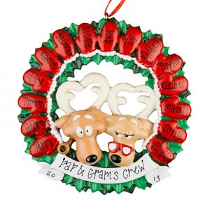 Moose Mitten Family of 15 Personalized Ornament