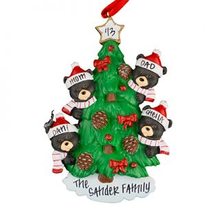 Black Bear Tree Family of 4 Personalized Ornament
