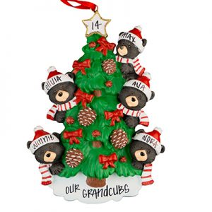 Black Bear Tree Family of 5 Personalized Ornament
