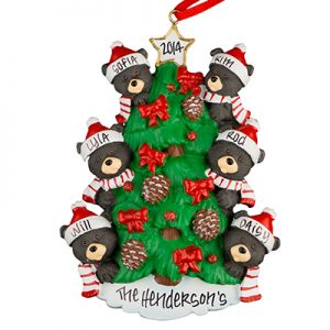 Black Bear Tree Family of 6 Personalized Ornament
