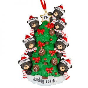 Black Bear Tree Family of 7 Personalized Ornament