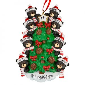 Black Bear Tree Family of 8 Personalized Ornament