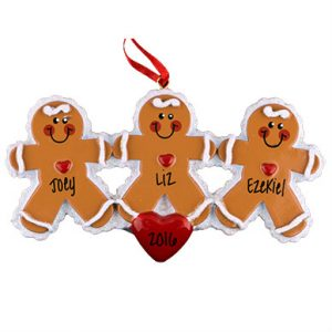 Gingerbread Family of 3 Personalized Ornament