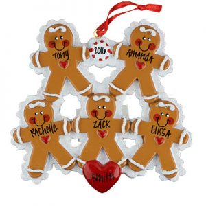 Gingerbread Family of 5 Personalized Ornament