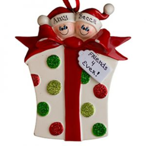 Gift Box Family of 2 Personalized Ornament