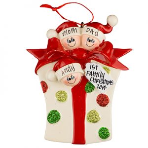 Gift Box Family of 3 Personalized Ornament