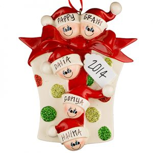 Gift Box Family of 5 Personalized Ornament
