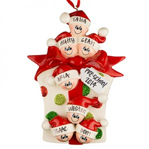 Gift Box Family of 7 Personalized Ornament